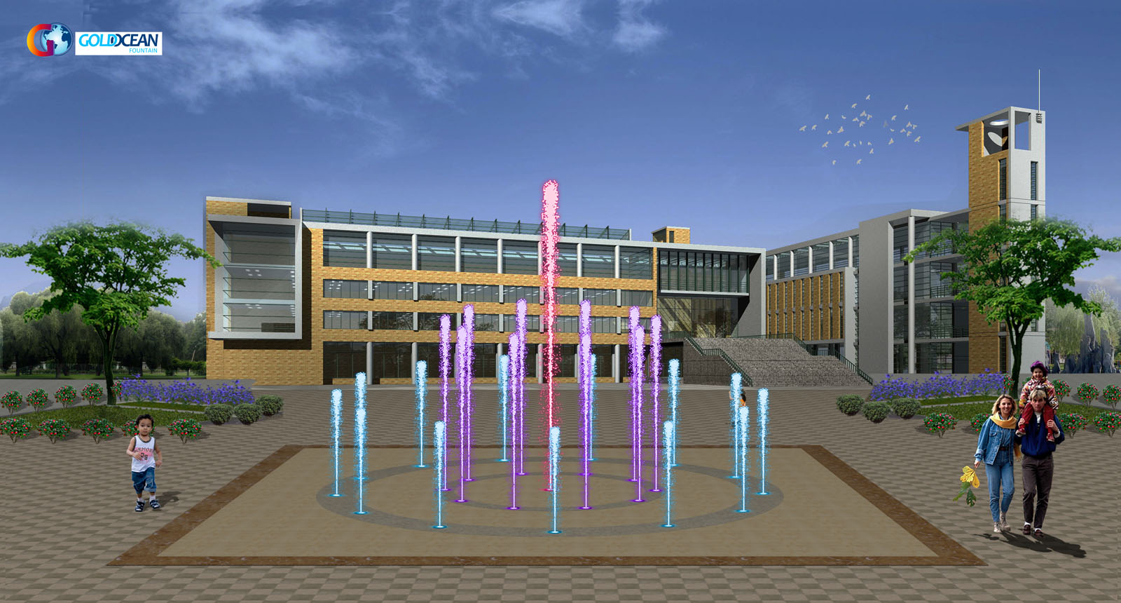 FREE DESIGN Multicolored Water Display LED Dance Floor Fountain