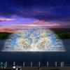 Water Curtain Movie Fountain, Built In Lake