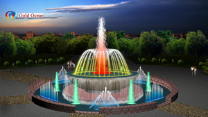 Outdoor Dia.16m Pool Dancing Fountain with Waterfall
