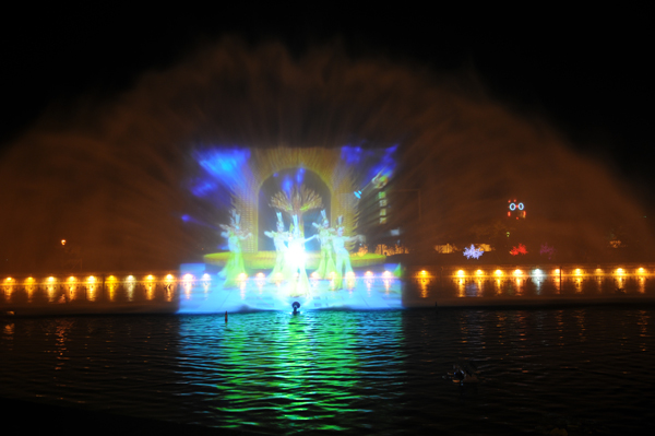 FREE DESIGN Laser screen fountains water screen for projector movie with lights
